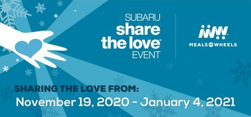 blue and white Subaru Share The Love logo with Meals on Wheels logo announcing promotion November 19 through January 4